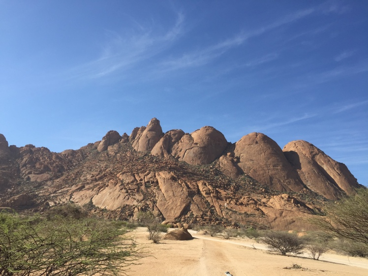 Brandberg Mountain on the way to Spitzkoppe in Namibia