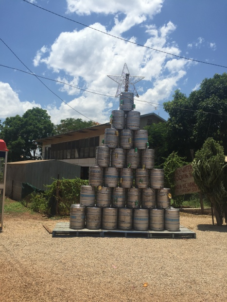 A Christmas Tree made out of beer barrels