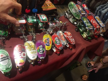 Toy vehicles made from recycled drink cans